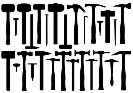 異なるハンマーのセット  イラスト・ベクター素材