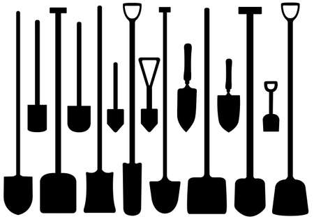 Set of shovels isolated on white Vector