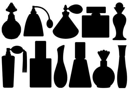 白で隔離される香水瓶セット