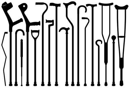Conjunto de diversos bastones aislados en blanco