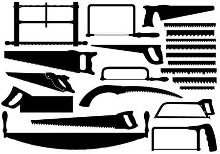 serrucho: Conjunto de diferentes sierras aisladas en blanco