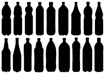 kunststoff: Satz von verschiedenen Flaschen, isoliert auf weiss Illustration