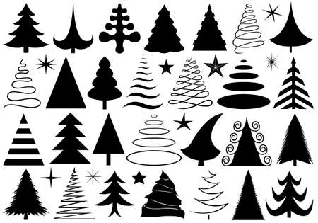 Set of different Christmas trees isolated on white Vector