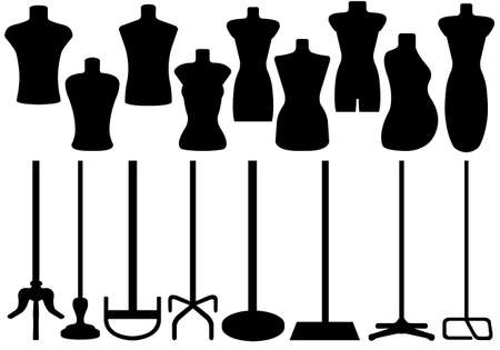 Set of different tailor s mannequin isolated on white Vectores