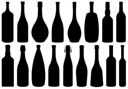 bottle of wine: Set of different glass bottles isolated on white