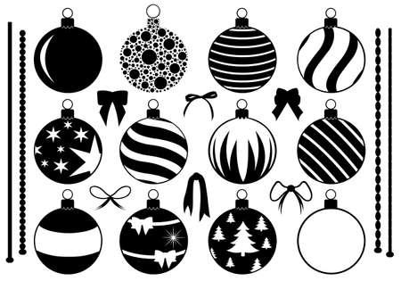 esfera: Conjunto de diversos adornos navideños aislados en blanco