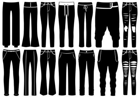 Set of different pants isolated on white
