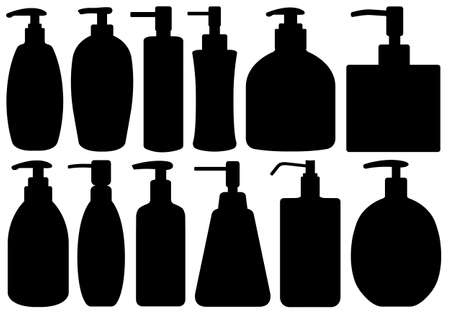 antibacterial soap: Set of different liquid soaps isolated on white