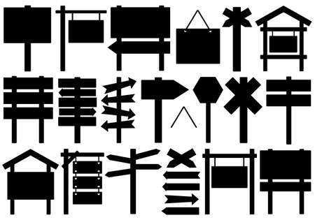 Ensemble de différents panneaux directionnels isolé sur blanc