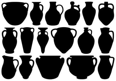 carafe: Set of different clay pottery isolated on white