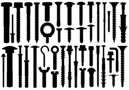 Set of different screws isolated on white Illustration