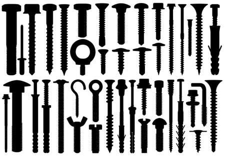 Set van verschillende schroeven op wit wordt geïsoleerd
