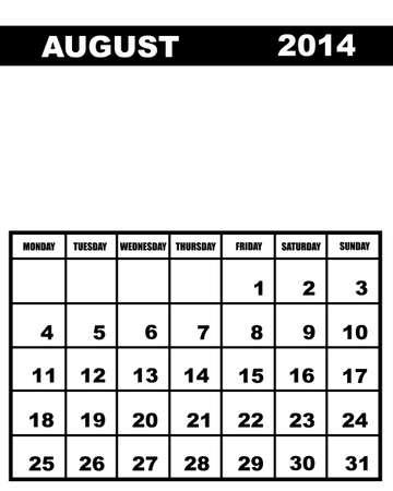 august calendar: Calendario de agosto de 2014 aislados en blanco