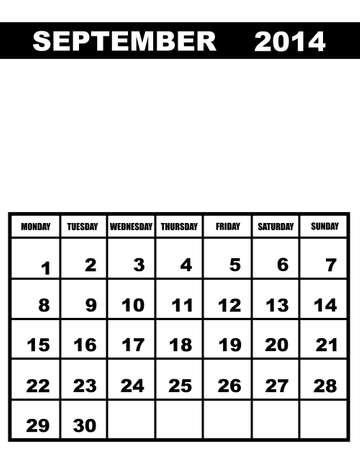 calendario septiembre: Calendario de septiembre de 2014 aislados en blanco