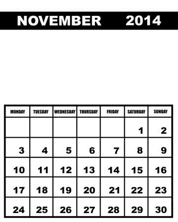 november calendar: November calendar 2014 isolated on white