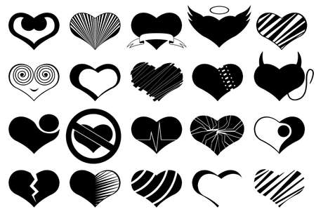 Set of different hearts isolated on white Vector
