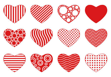 spot the difference: Set of different hearts isolated on white Illustration