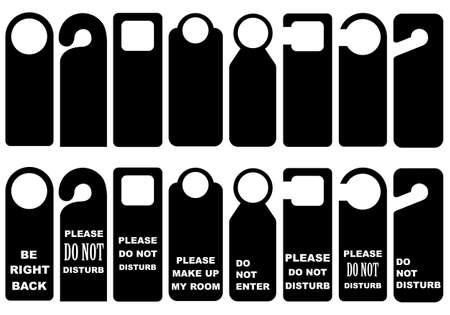 disturb: Door Knob Hangers Set isolated on white Illustration