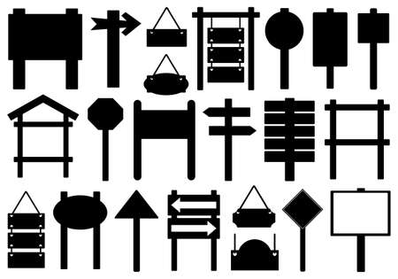 forked: Set of different directional signs isolated on white Illustration
