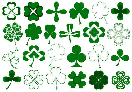 three leaf clover: Set of different clovers set isolated on white
