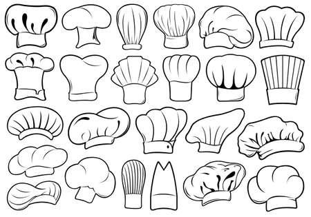 gorro chef: Conjunto de diferentes sombreros de chef aislados en blanco Vectores