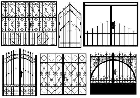 iron gate: Set of different gates isolated on white