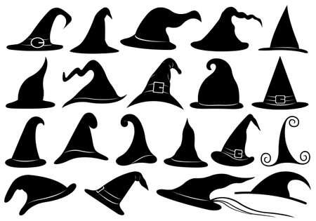 Set van verschillende heksen hoeden op wit wordt geïsoleerd