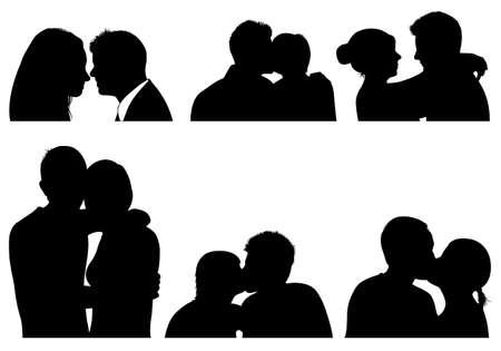 siluetas de enamorados: Conjunto de pareja en diferentes posiciones aisladas en blanco