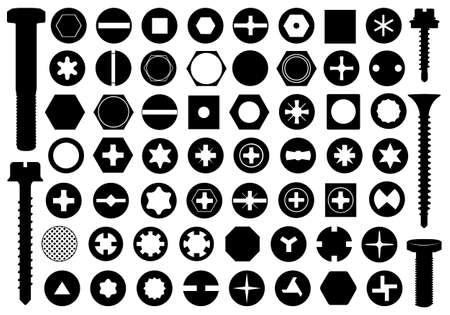 tornillos: Cabezas de los tornillos fijados aislados en blanco