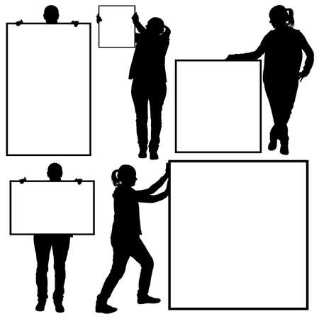 signboard form: Women holding different signs isolated on white Illustration