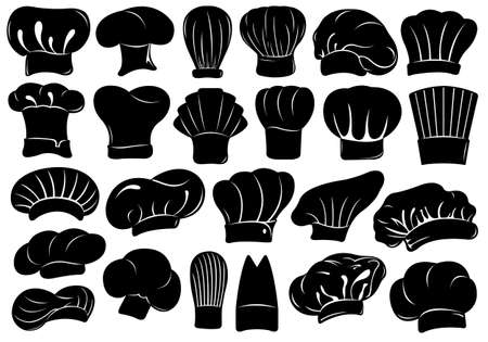Set of different chef hats isolated on white Vectores