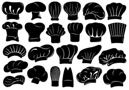 Set aus verschiedenen Kochmützen isoliert auf weißem Standard-Bild - 29159901