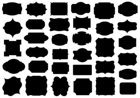 Set of different labels isolated on white Vector
