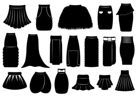 skirts: Set of different skirts isolated on white