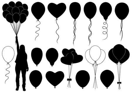 globos de cumpleaños: Conjunto de diversos globos aislados en blanco