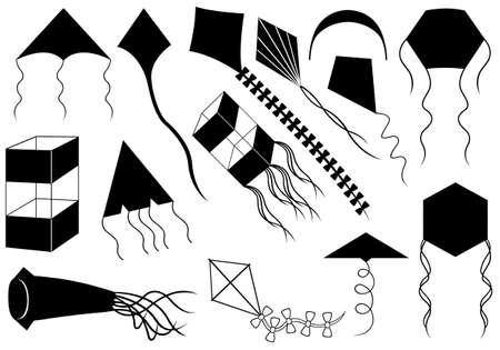 windsock: Set of different kites isolated on white Illustration