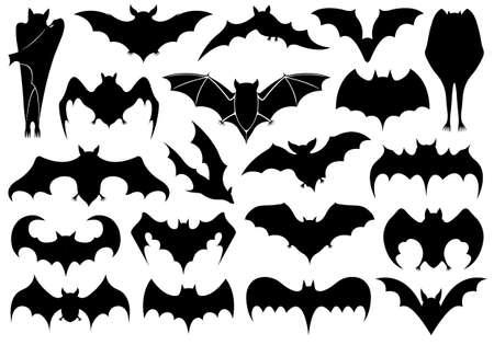 murcielago: Conjunto de diversos murciélagos aislados en blanco Vectores