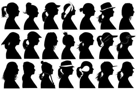 siluetas mujeres: Ilustraci�n de la mujer Perfiles aislado en blanco