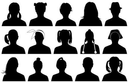 Illustratie van vrouwen portretten op wit wordt geïsoleerd Stock Illustratie
