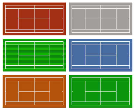 Illustration of different tennis courts isolated on white