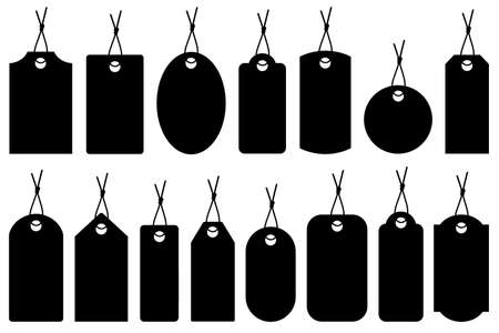 clothing tag: Set of different price tags isolated on white