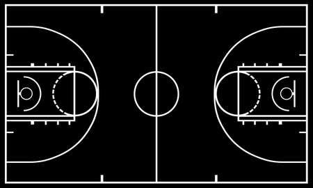 basketball: Basketball court with black in background Illustration