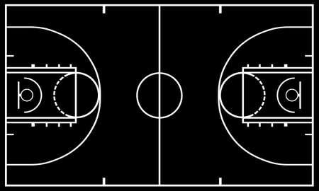 canestro basket: Campo da basket con il nero in background Vettoriali