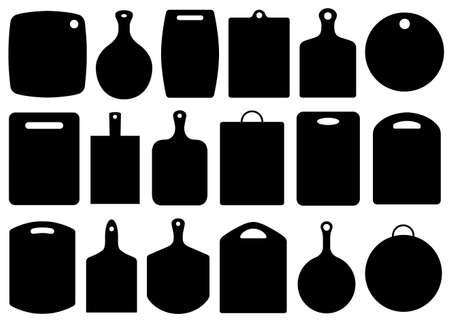 pizarra: Conjunto de tablas de cortar de cocina aislado en blanco