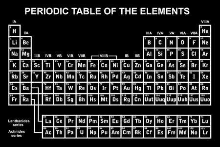 Periodic table of the elements with black in background Vectores