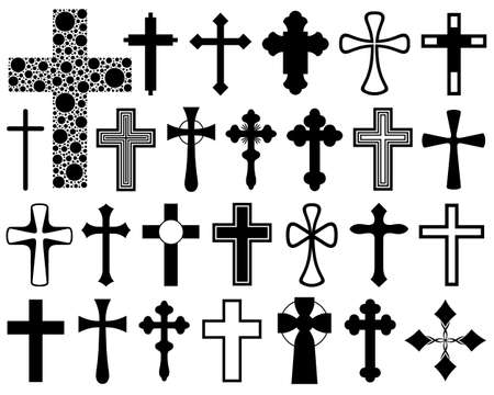 jesus on the cross: Set of different crosses isolated on white
