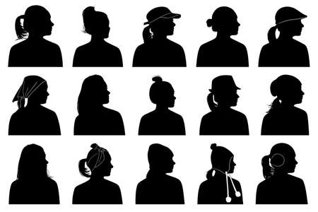 ladies bust: Illustration of women portraits isolated on white
