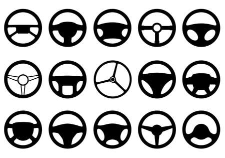 Set of different steering wheels isolated on white Illustration