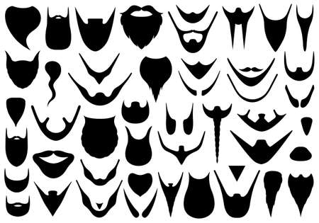 goatee: Set of different beards isolated on white Illustration