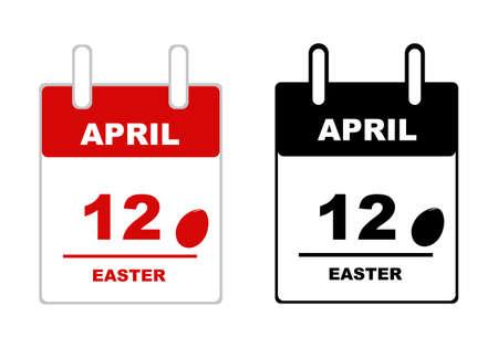 calendar isolated: Easter calendar isolated on white